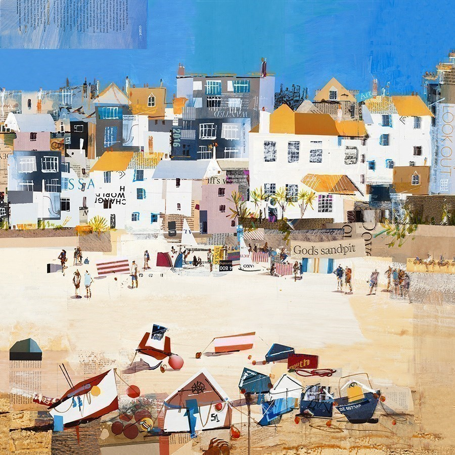 Castles, St Ives Beach by Tom Butler - Hand Finished Limited Edition on Paper sized 16x16 inches. Available from Whitewall Galleries